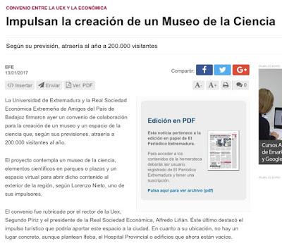 Museo de la ciencia Badajoz RSEEAP Lorenzo Blanco El Periodico Extremadura