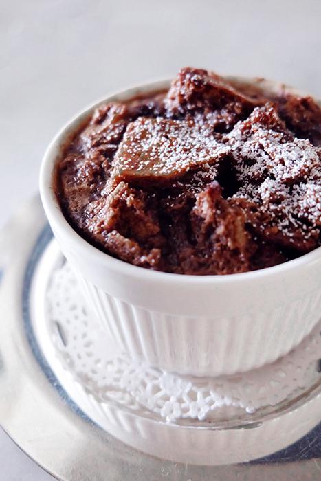 baked chocolate bread pudding in ramekin