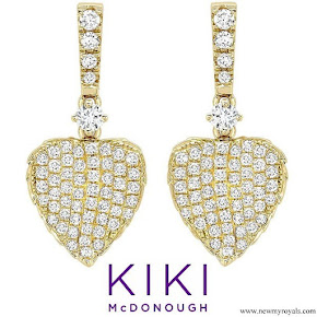Kate Middleton accessorised KIKI McDonough Lauren Yellow Gold Diamond Pave Leaf Earrings