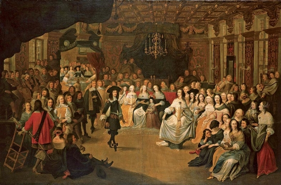 Hieronymus Janssens, Charles II Dancing at a Ball at Court, c. 1660, oil on canvas : 140 × 214 cm. London, The Royal Collection, RCIN 00525.