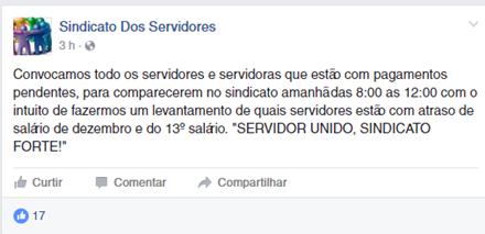 Sindicado dos Servidores Públicos de Morro do Chapéu convoca todos os Servidores que estão com seus pagamentos pendentes