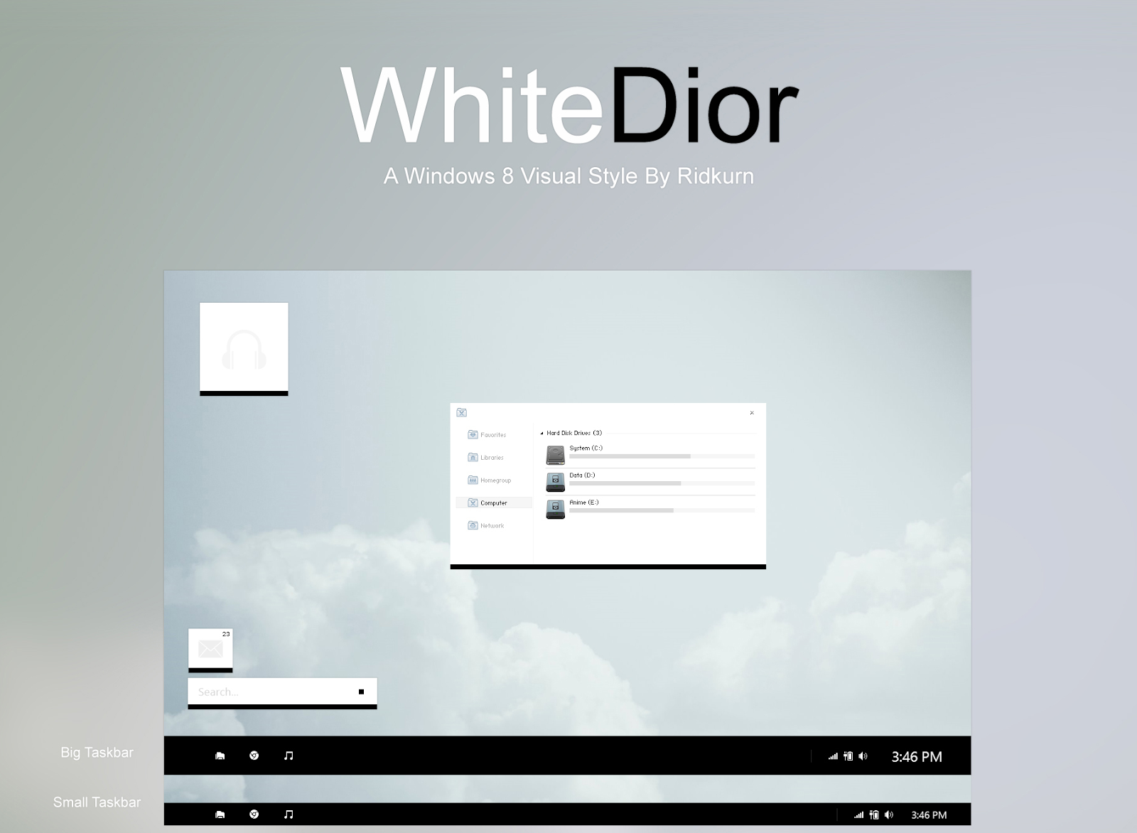 Whitedior theme for windows 8