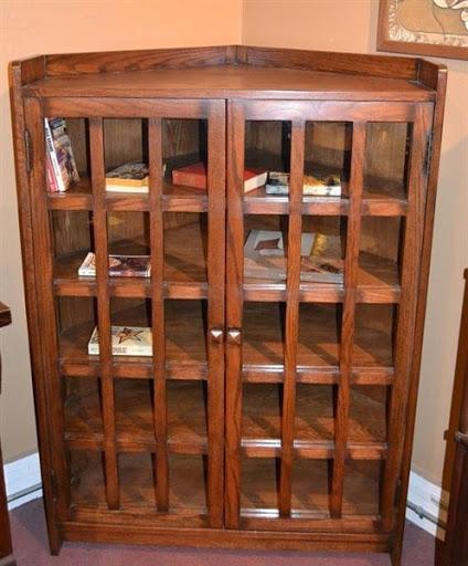 wooden corner bookcase