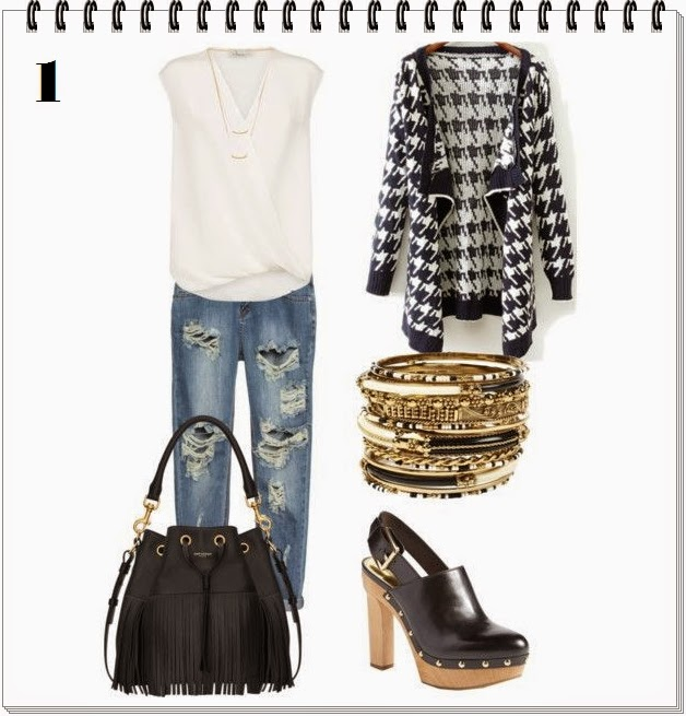 Outfits houndstooth jacket