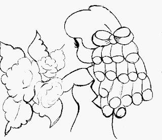 desenho para pintar boneca de costas com rosas nas mãos
