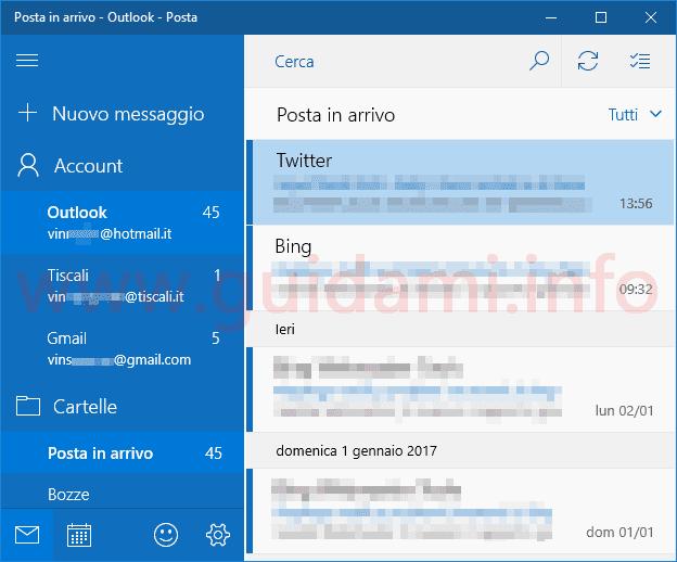 App Posta Windows 10 più account email nella schermata iniziale