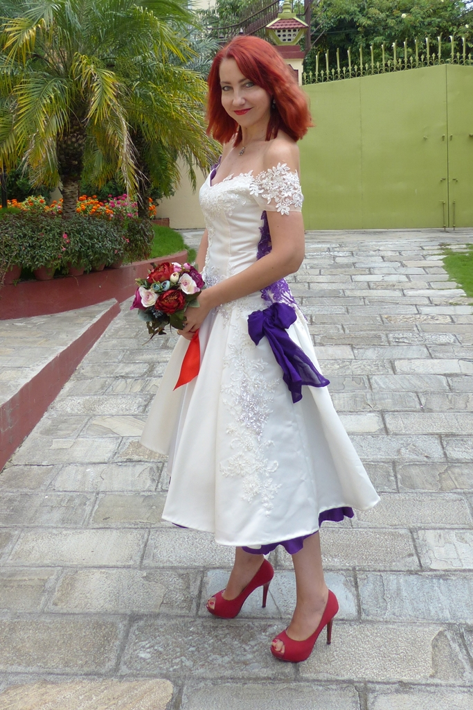 Ivory and purple wedding dress
