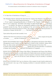 board resolution for satisfaction of charge as per companies act 2013
