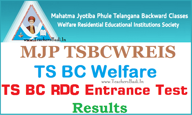 MJP TS BC Welfare RDC CET,Results,mjptbcwrdc cet results