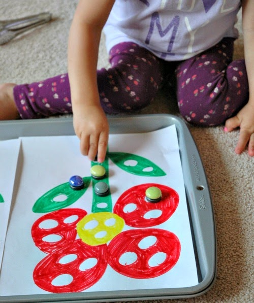 flower theme marble magnet activity, good for fine motor