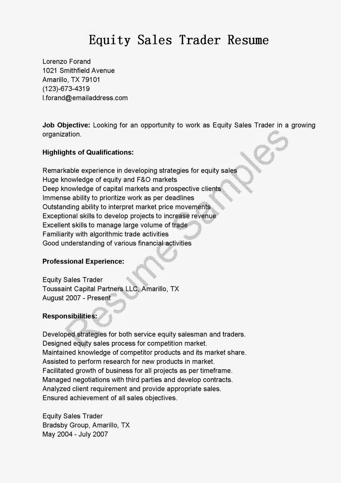 equity trader resume - Jasonkellyphoto.co