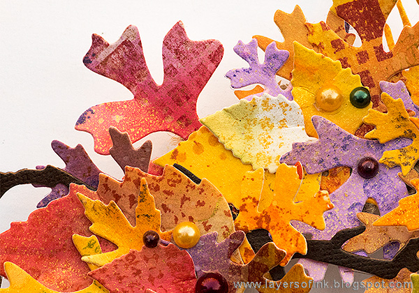 Layers of ink - Vibrant Leaves Wreath Tutorial by Anna-Karin with stamps by IndigoBlu.