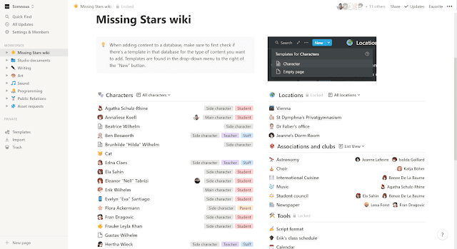 The main page of the Missing Stars wiki on Notion.