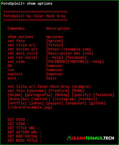 FotoSploit Termux : Best Phishing Tool for Termux