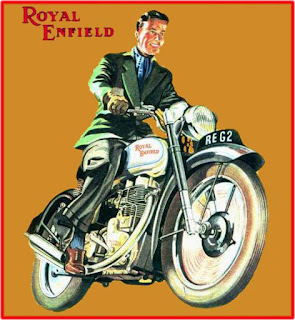 Illustration of man riding a vintage Royal Enfield motorcycle.