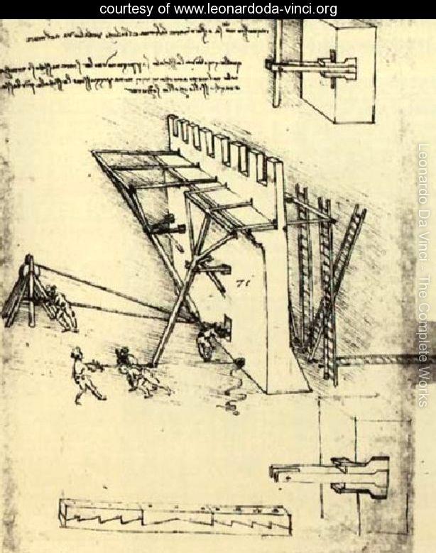 Desenho original da Contramedidas de cerco de Leonardo da Vinci - Leonardo da Vinci's original sketch of the siege defense sistem