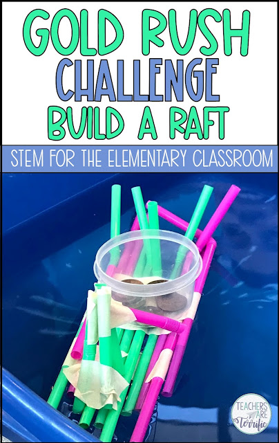 Upper elementary ideas for the California Gold Rush. This includes a STEM Challenge about building a raft. #teachersareterrific #goldrush