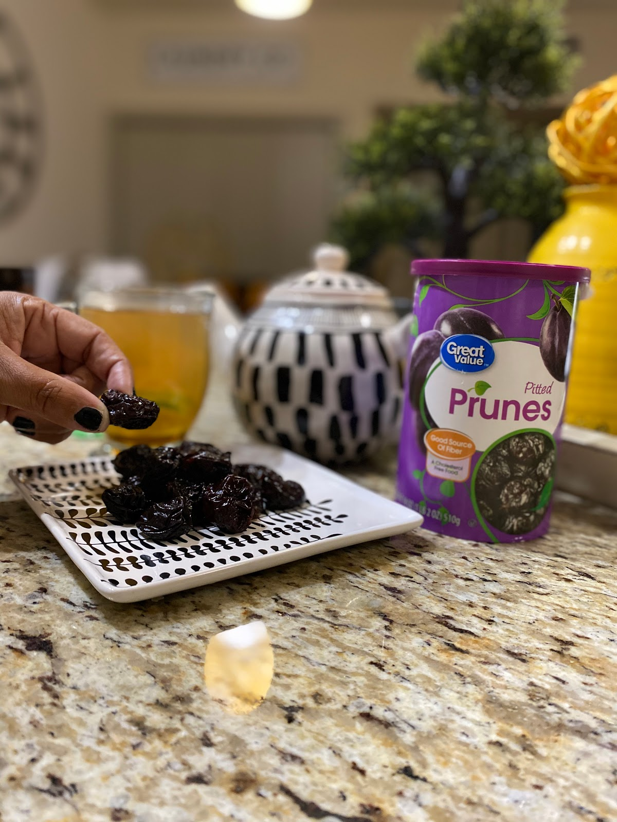 Eating prunes help regulate the tummy and keeps the bowels moving