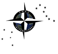OMNA International logo - compass intertwined with circle and constellations outside