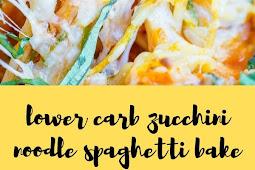 lower carb zucchini noodle spaghetti bake