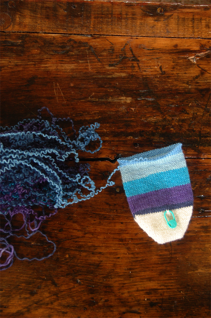 frogged hand knit sock