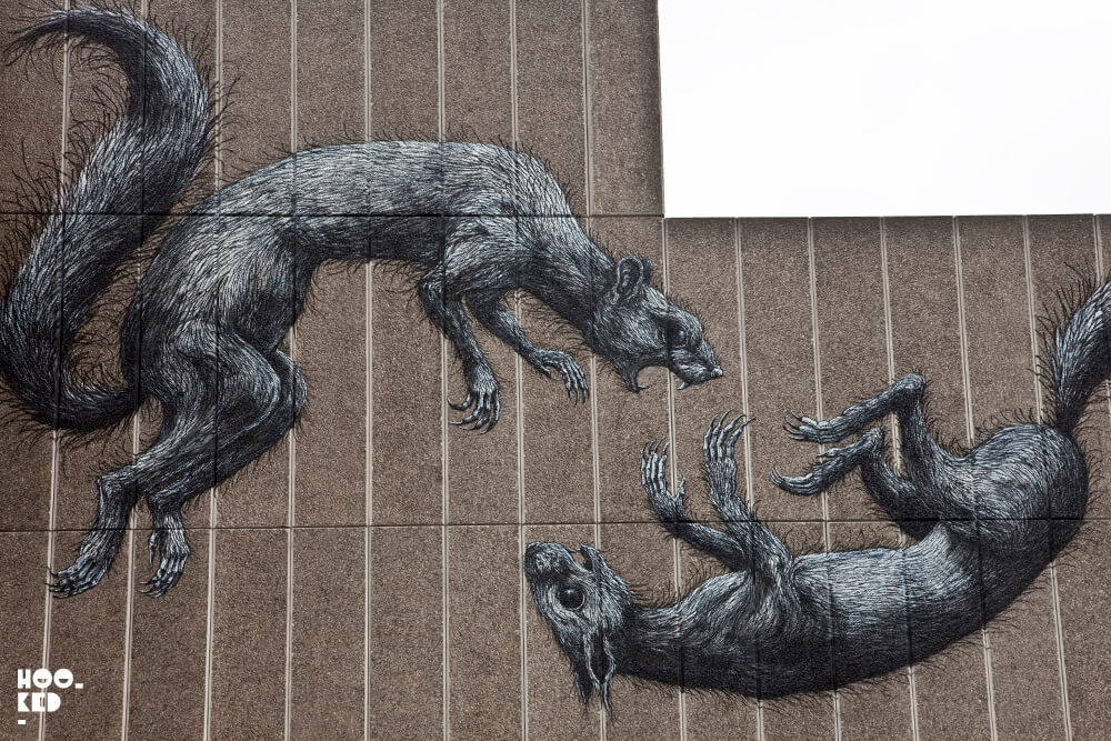 Belgian Street Artist Roa Southbank Centre London Mural