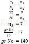 Penentuan massa gas Ne dari perbandingan tekanan dan mol gas hidrogen dan neon