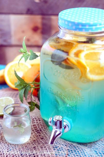 lemoniada, woda, sok, pomarancza, limonka, grill, picie, bernika, kulinarny pamietnik