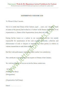 work experience certificate format for cashier