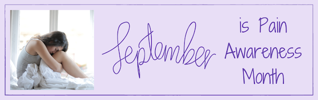 Pale purple background. Photograph of a woman hunched over the legs in bed. September in purple handwritten font and then more text reading is Pain Awareness Month