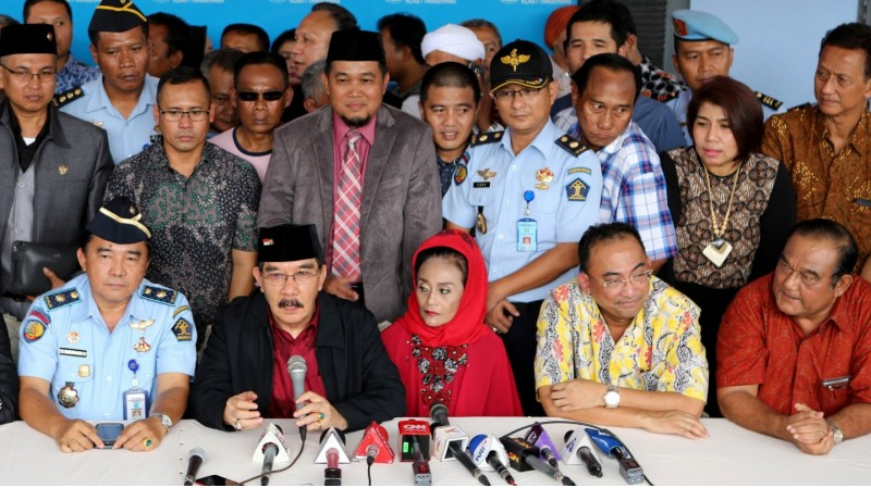 Antasari Azhar menggelar konferensi pers di Lapas Tangerang