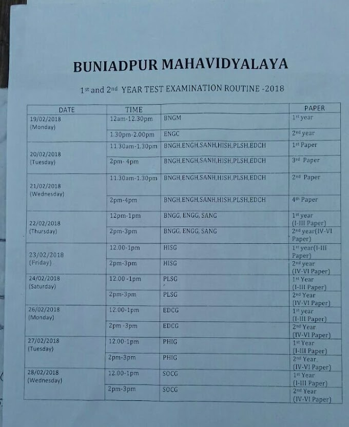Buniadpur Mahavidyalaya 1ST& 2nd Year Exam Routine 2018 All Student (New)