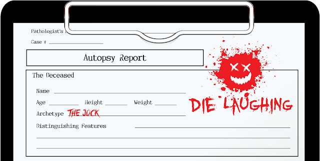 "The character sheet titled ""Autopsy Report"" and styled appropriately"