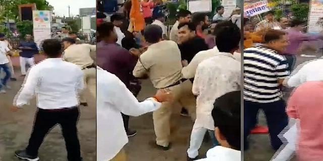 भाजपा नेता का वीडियो वायरल, पुलिसकर्मी से हाथापाई की | JABALPUR MP NEWS