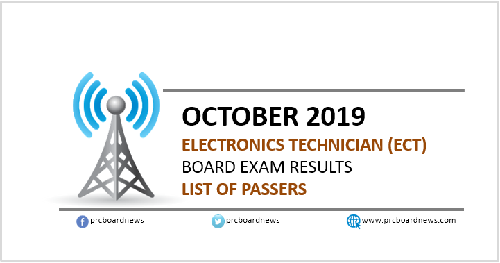 RESULT: October 2019 Electronics Technician ECT board exam list of passers