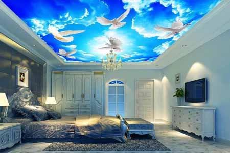 wallpaper keren motif awan dekorasi plafon rumah