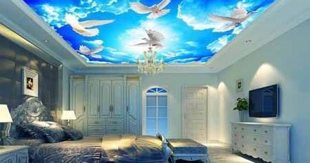 wallpaper keren motif awan, dekorasi plafon rumah | panel
