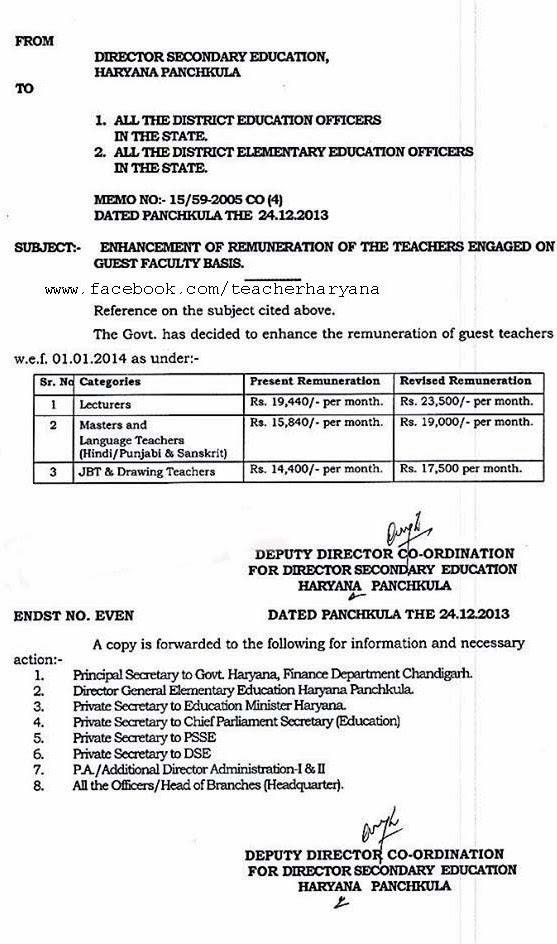 Guest Teacher Pay Hike Letter - Teacher Haryana
