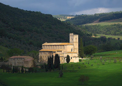 The Abbey of Sant'Antimo near Montalcino in Tuscany, Italy