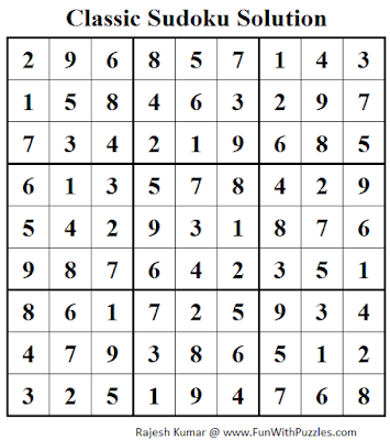 Classic Sudoku (Fun With Sudoku #49) Solution
