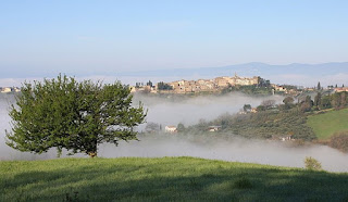 Mist filling the valleys around Collevecchio, one of many beautiful towns in the Sabine Hills in Lazio