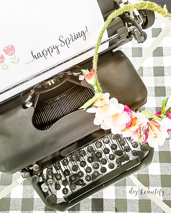 flower crown on vintage typewriter