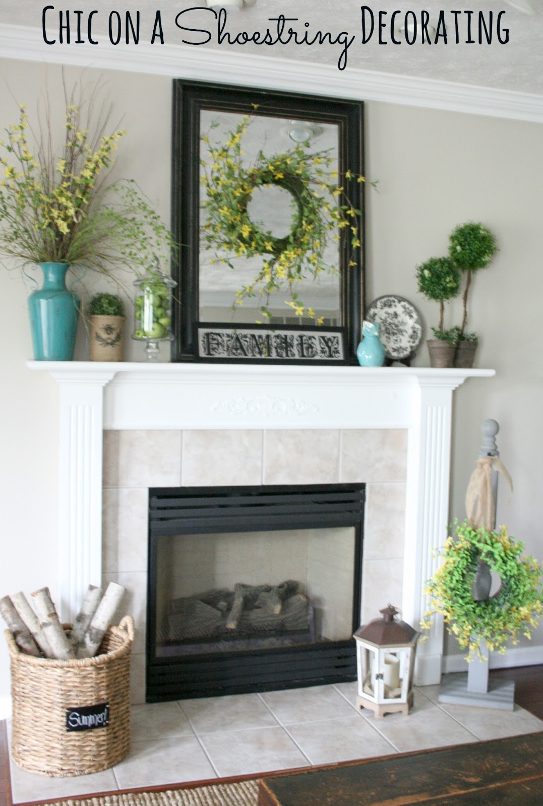 Mantel Decorating Ideas For The Holidays: Chic On A Shoestring Decorating: Summer Mantel Featuring