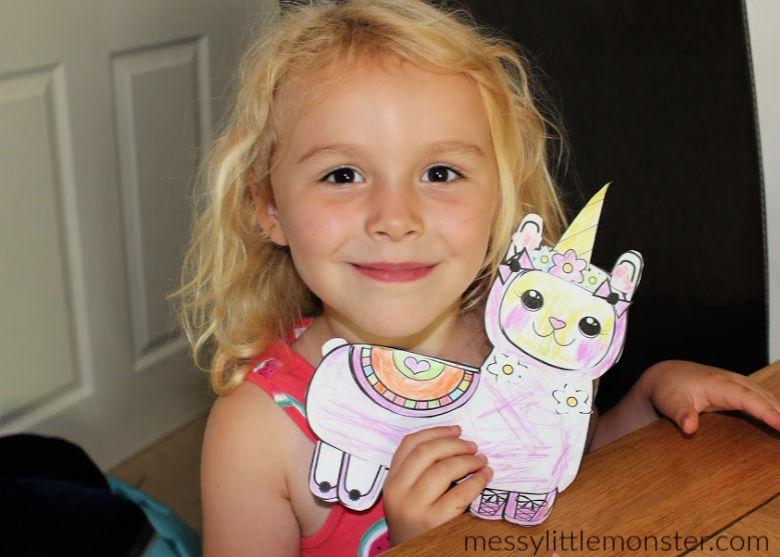 printable llama coloring page craft