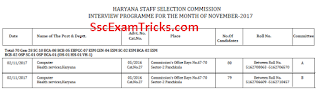 HSSC Interview Call Letter 2017