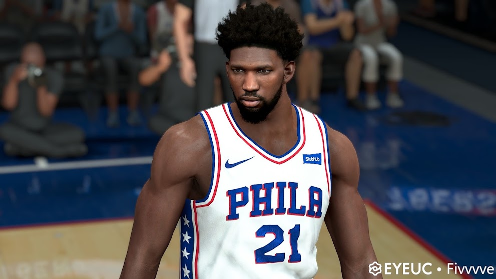 NBA 2K22 Joel Embiid Cyberface, Hair and Body Model By Five