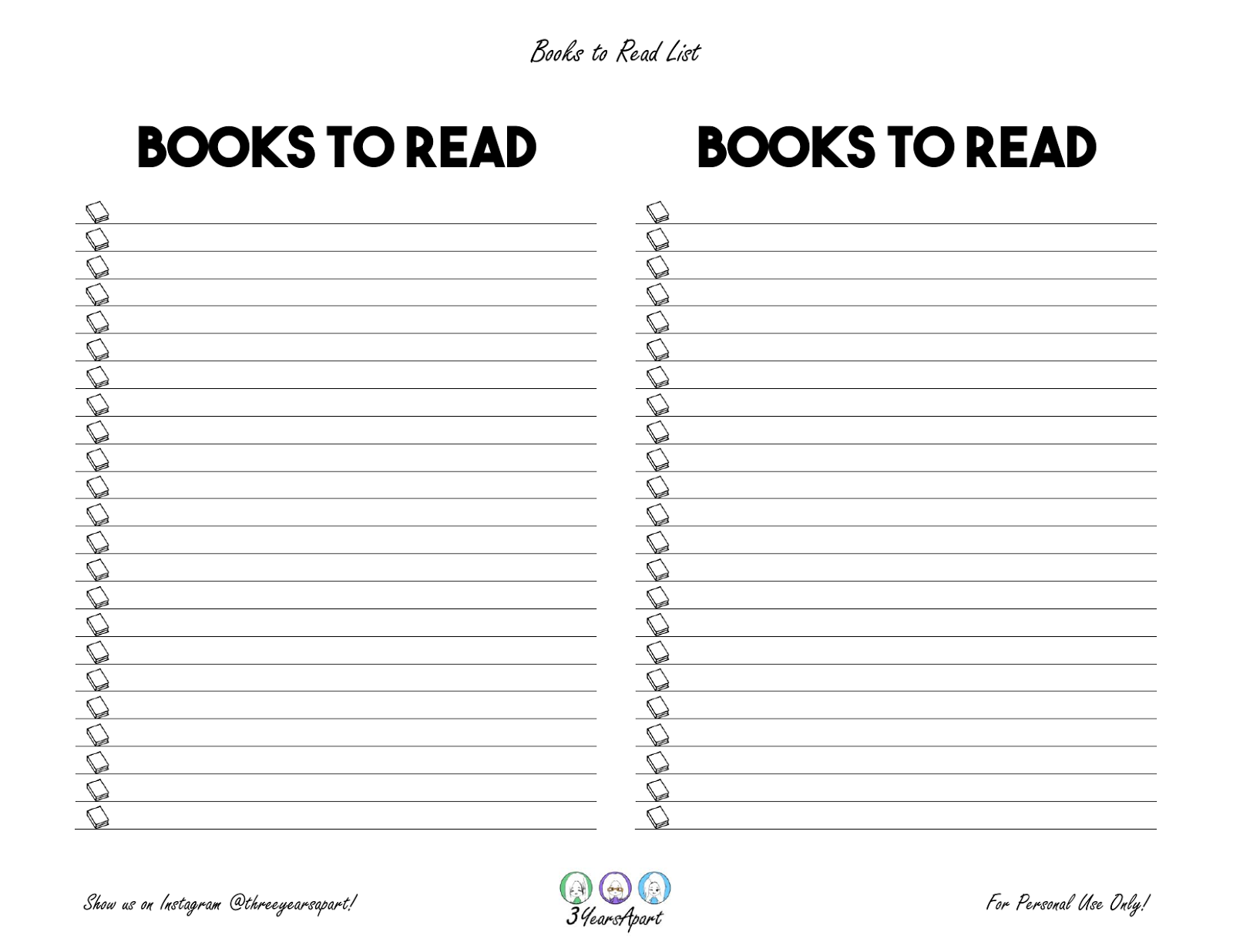 It's just an image of Simplicity Books I've Read Printable