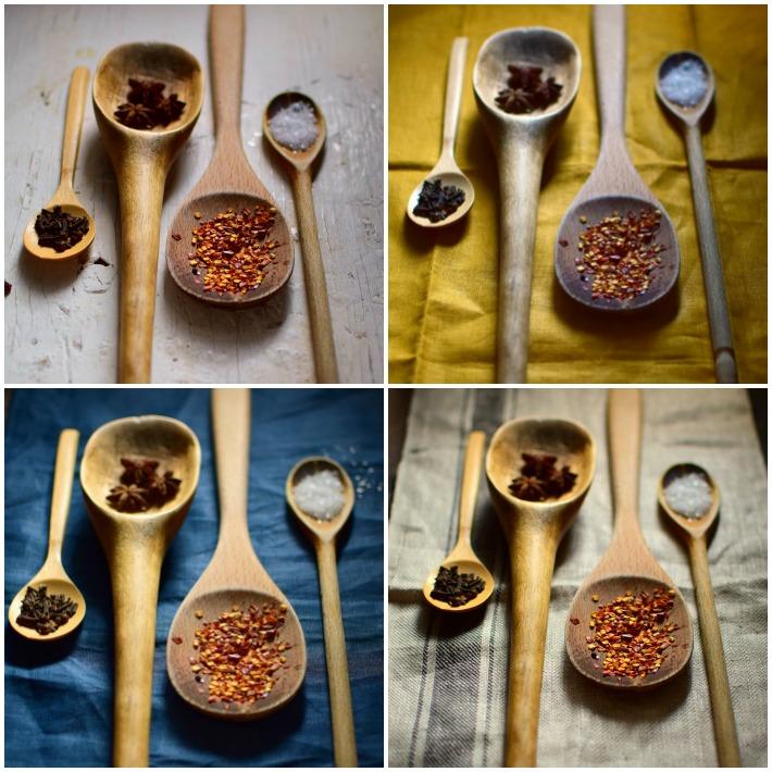 Fotografia culinaria: cucharas de madera con especies diversas y distintas superficies