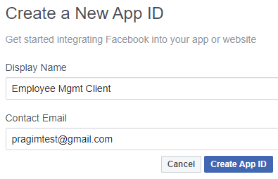 register your app with facebook
