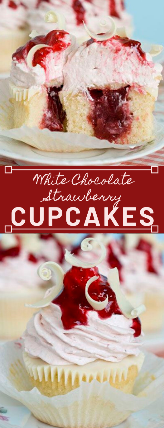 White Chocolate Strawberry Cupcakes #desserts #cupcakes #easy #chocolate #white